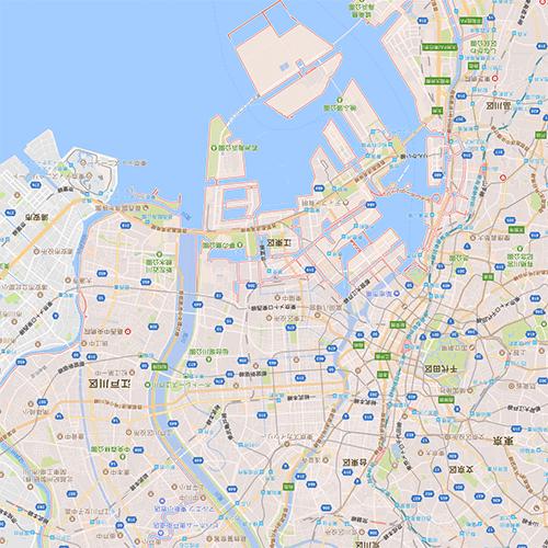 縮小した地図