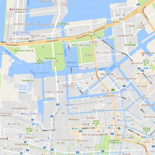 拡大した地図